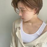 ベージュ ショート ナチュラル ハンサムショート ヘアスタイルや髪型の写真・画像