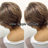 ヘアカラー ハイライト ホワイトハイライト 大人可愛い ヘアスタイルや髪型の写真・画像