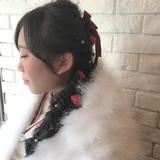 編み込み ヘアアレンジ ロング 成人式 ヘアスタイルや髪型の写真・画像