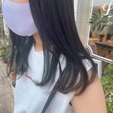 ブリーチカラー インナーグリーン ストリート グリーン ヘアスタイルや髪型の写真・画像