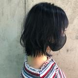 ブルーブラック ブルージュ ウルフカット ボブ ヘアスタイルや髪型の写真・画像