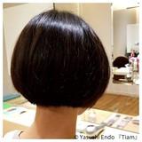 前下がりボブ ノースタイリング モード ボブ ヘアスタイルや髪型の写真・画像 | Yasushi Endo 『Tiam』 / Tiam Hair 弘明寺
