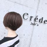 ショートボブ グレージュ ナチュラル ショート ヘアスタイルや髪型の写真・画像