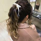 ロング デート ポニーテール ガーリーヘアスタイルや髪型の写真・画像