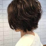 暗髪 ロブ パーマ ショート ヘアスタイルや髪型の写真・画像