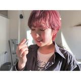 ラベンダーピンク ストリート ピンクベージュ ショート ヘアスタイルや髪型の写真・画像 | 森下佳哲 / lufun hair design
