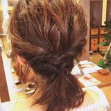 デート 簡単ヘアアレンジ ボブ オフィスヘアスタイルや髪型の写真・画像