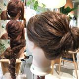 簡単ヘアアレンジ ショート お団子 セミロング ヘアスタイルや髪型の写真・画像