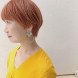 オレンジベージュ ストリート サーモンピンク ショート ヘアスタイルや髪型の写真・画像[エリア]