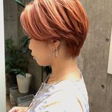 ショート オレンジベージュ ショートヘア オレンジカラー ヘアスタイルや髪型の写真・画像[エリア]