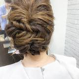ナチュラル 編み込み ウェーブ ヘアアレンジ ヘアスタイルや髪型の写真・画像   八木 智大 / ZA'S 平井店