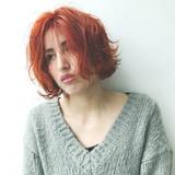 暖色 スポーツ ボブ オレンジ ヘアスタイルや髪型の写真・画像