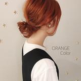 ミディアム オレンジカラー ストリート 切りっぱなし ヘアスタイルや髪型の写真・画像 | 市川千夏*札幌 / salon AKIRA