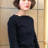 大人女子 グレージュ ボブ 暗髪 ヘアスタイルや髪型の写真・画像