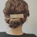 アッシュ セミロング ショート 簡単ヘアアレンジ ヘアスタイルや髪型の写真・画像