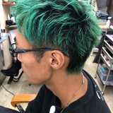メンズカラー ショート グリーン メンズヘア ヘアスタイルや髪型の写真・画像