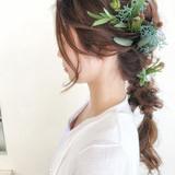 ヘアアレンジ フェミニン 花嫁 編み込みヘアスタイルや髪型の写真・画像