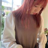 ブリーチ ピンク ミディアム ベリーピンク ヘアスタイルや髪型の写真・画像