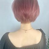 ショート ピンク ラベンダーピンク 小顔ショート ヘアスタイルや髪型の写真・画像