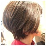 ナチュラル ショート 艶髪 前下がりショート ヘアスタイルや髪型の写真・画像