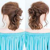 フェミニン くるりんぱ セルフヘアアレンジ ハーフアップ ヘアスタイルや髪型の写真・画像 | 美容師HIRO/Amoute代表 / Amoute/アムティ