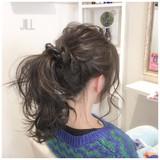 ナチュラル ヘアアレンジ アッシュ ポニーテール ヘアスタイルや髪型の写真・画像[エリア]