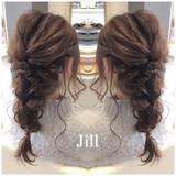ヘアアレンジ フェミニン セミロング 編み込み ヘアスタイルや髪型の写真・画像[エリア]