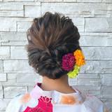 お祭り エレガント ヘアアレンジ 結婚式ヘアスタイルや髪型の写真・画像