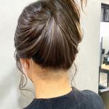 大人ハイライト セミロング ハイライト ナチュラル ヘアスタイルや髪型の写真・画像