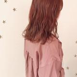 ゆるナチュラル ダブルカラー ピンク セミロング ヘアスタイルや髪型の写真・画像   市川千夏*札幌 / salon AKIRA