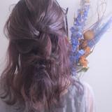 エレガント ヘアアレンジ 結婚式アレンジ バイオレットカラー ヘアスタイルや髪型の写真・画像