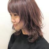 グラデーションカラー セミロング ハイライト ウルフカット ヘアスタイルや髪型の写真・画像