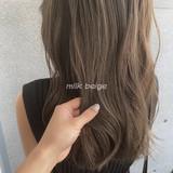 ベージュ シアーベージュ ナチュラル ロング ヘアスタイルや髪型の写真・画像