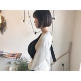 ミニボブ 黒髪 ショート ナチュラルヘアスタイルや髪型の写真・画像