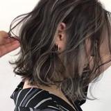 コントラストハイライト セミロング ハイライト エレガント ヘアスタイルや髪型の写真・画像