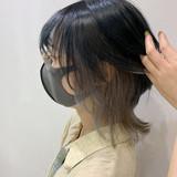 インナーカラーグレー インナーカラー ミディアム ストリート ヘアスタイルや髪型の写真・画像[エリア]