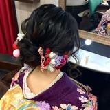 成人式 セミロング ナチュラル 成人式ヘアヘアスタイルや髪型の写真・画像