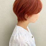 ショートヘア ショート オレンジカラー ダブルカラー ヘアスタイルや髪型の写真・画像