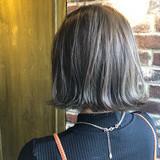 3Dハイライト アッシュグレー ボブ 切りっぱなしボブ ヘアスタイルや髪型の写真・画像