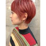 ハンサムショート ベリーショート ブリーチ アプリコットオレンジ ヘアスタイルや髪型の写真・画像 | shooooki / GO TODAY SHAiRE SALON渋谷