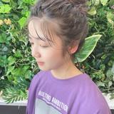 フェミニン ヘアアレンジ セミロング お団子アレンジ ヘアスタイルや髪型の写真・画像