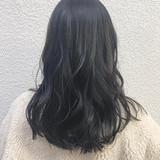 ロング ナチュラル ネイビー 暗髪 ヘアスタイルや髪型の写真・画像