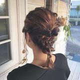 ヘアアレンジ ボブ ローポニー 編みおろし ヘアスタイルや髪型の写真・画像 | MOMOKO / HairworksZEAL