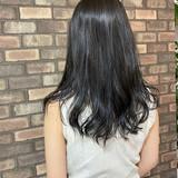 透明感 艶髪 ロング ブルーアッシュ ヘアスタイルや髪型の写真・画像