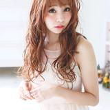大人女子 ピンク ロング ベージュ ヘアスタイルや髪型の写真・画像