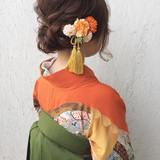ナチュラル ヘアアレンジ ミディアム 謝恩会 ヘアスタイルや髪型の写真・画像