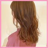 オレンジベージュ ナチュラル 透明感 アプリコットオレンジ ヘアスタイルや髪型の写真・画像