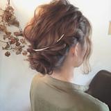 ミディアム ねじり 結婚式 夏 ヘアスタイルや髪型の写真・画像