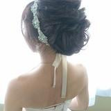 外国人風 上品 セミロング 結婚式 ヘアスタイルや髪型の写真・画像
