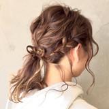 結婚式 ヘアアレンジ 愛され 編み込み ヘアスタイルや髪型の写真・画像